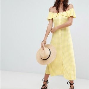 ASOS Off Shoulder Button Midi Dress Gingham